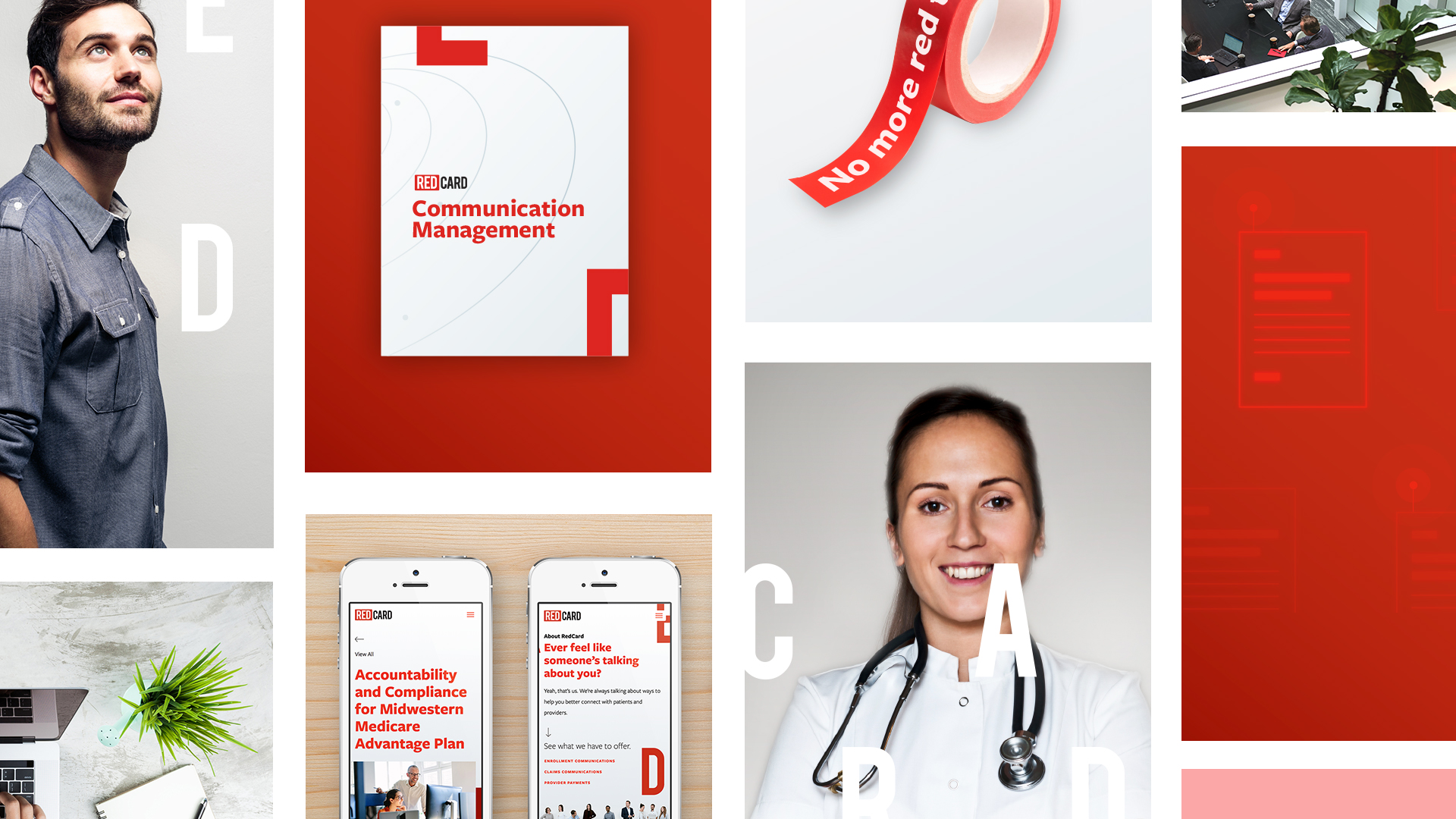 Collage of brand elements created by design team lead Jessica for healthcare marketing company RedCard